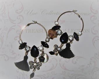 Beaded and rhinestone earrings
