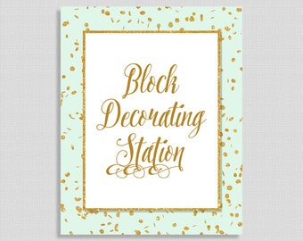 Block Decorating Station Shower Sign, Mint & Gold Glitter Confetti Table Sign, Neutral, INSTANT PRINTABLE