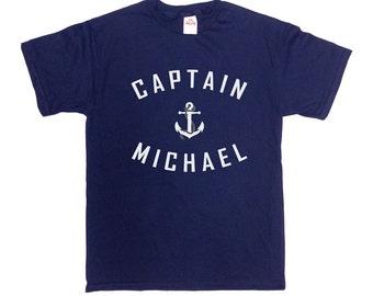 Captain T Shirt Custom Name Boating TShirt Sailing Gifts Nautical Anchor Boat Captain Sailor T-Shirt Grandpa Dad Gift Ideas Mens Tee - SA367