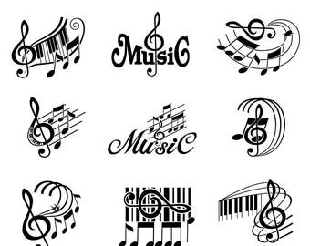 Music svg, Musical Notes svg,  Treble Clef svg, Musical staff svg, Music svg files, Music Notes svg, svg files for cricut, svg silhouette