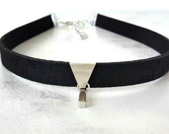 Black Choker Necklace, Black Choker, Choker Necklace, Black Suede Choker Necklace, Black Suede Choker, Suede Leather Choker, Black Necklace