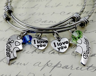 Mother Daughter Bangle Bracelets Set of Two - Stamped Personalized Custom Mom Jewelry