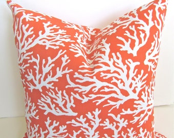 ORANGE Throw Pillows CORAL Outdoor Pillow Covers Orange Throw Pillow Indoor Outdoor Pillows 16x16 18 Pillow Covers .All Sizes. Home Decor