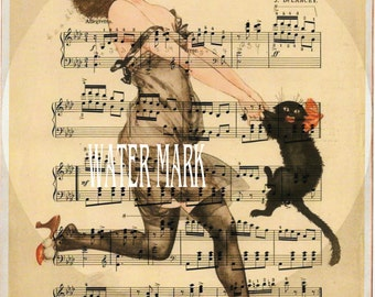 Halloween witches dance collage*Girl dances with her black cat*Exclusively ours*One 8x10 cardstock print