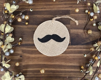 Burlap Mustache Ornament