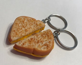 Grilled Cheese Halves Key Chains, Polymer Clay Best Friends Accessories, BFF