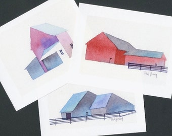 Boxed Note Cards-Barns-printed from original watercolor paintings