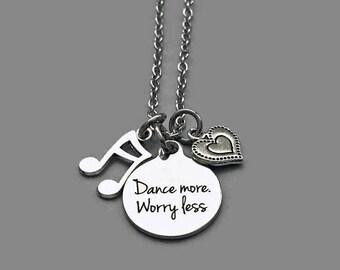 Dance Necklace, Dance Charm Necklace, Dance More, Worry Less, Music Note Charm, Heart Charm, Dance Teacher, Music Teacher, Stainless Steel