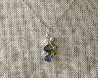 Iolite, Peridot & Fresh Water Pearl Cluster Sterling Silver Necklace