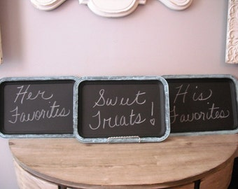 Set of 3 upcycled Chalkboard trays .. Aqua blue and black .. Wedding party signs ... candy dessert buffet