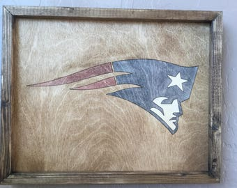New England Patriots Wooden Inlay Wall Art