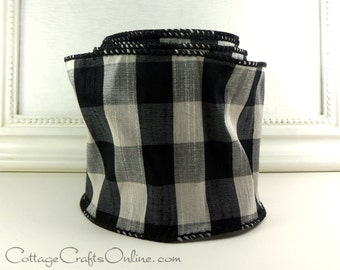 "Wired Ribbon, 4"" wide, Black, White, Silver Faux Silk Dupioni Plaid - TEN YARD ROLL - Offray ""Bono"" Check Wire Edged Ribbon"