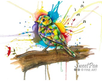 Rainbow bird art print, songbird watercolor print, abstract art, modern art, contemporary art painting, nature, animal print