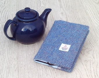 A6 size Harris tweed covered notebook jotter diary blue herringbone