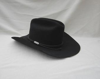 Vintage Steston Hat with box, black stetson hat, 4X Beaver Stetson, size 6 3/4 hat,cowboy hat,hat box, western hat, Carson Stetson fedora