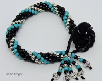 Swirled Turquoise, Silver and Black Bracelet
