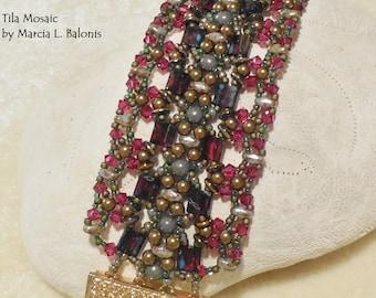 KIT and PATTERN Tila Mosaic Bracelet Cuff Tile or Tila Crystals