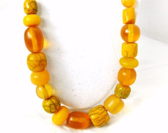 Abstract Yellow Mix Beaded Necklace