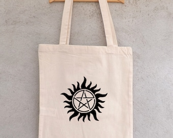 Tote Bag SUPERNATURAL - bag shopping - Winchesters - Dean and Sam - trap a demons - anti-possession