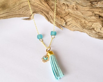 Hamsa Tassel Necklace / Teal Blue Hamsa / Long Necklace / Gift For Her / Gold Necklace / Bohemian Jewelry /Gypsy Jewelry /Talisman /Evil Eye