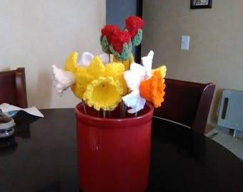 Crochet daffodils, crochet spring bouquet, crochet daffodil bouquet