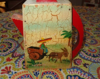 "Charming Vintage 8 1/2"" Wood Folk Art Mexican Scene on soap powder pitcher for laundry"