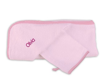 Personalized/Monogrammed Baby Girl Hooded Towel Set in Pink
