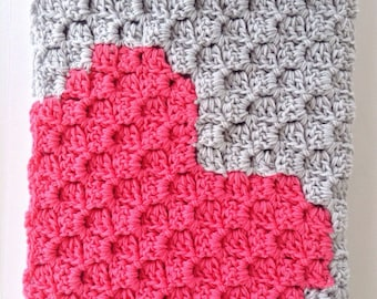 Modern Crochet Baby Blanket - Pink and Grey - Baby Girl - Crochet Blanket - Knit Baby Afghan - Heart Blanket - Stroller - Crib - Keepsake