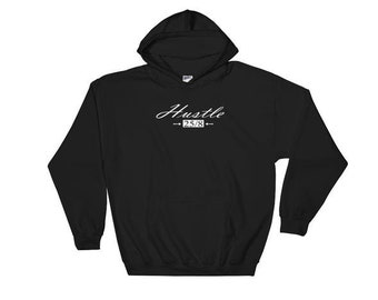 Men's Hustle 25-8 Black Hooded Sweatshirt