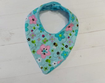 Spring time Bandanna baby bib with aqua, pink, green and purple flowers for girls, Cotton and Mink baby bibs