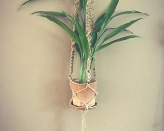 Handmade ceramic pot and jute macrame plant hanger