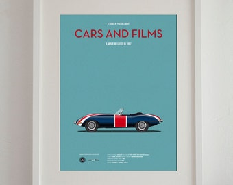 Austin Powers car movie poster, art print A3 Cars And Films, home decor prints, illustration poster
