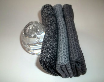 Dishcloths Knit in Cotton in Grays and Black, Dish Cloth, Wash Cloth, Kitchen, Knit Dishcloth, Cotton Dishcloth