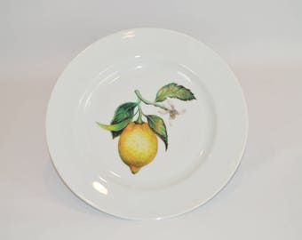 "Bistro 10"" White Plate (shown with image #f55 - Lemon Cutting)"