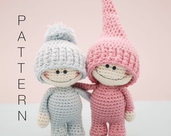 Amigurumi crochet doll pattern - The Little Doodahs Wilbur and Bertie dolls PATTERN ONLY (English)