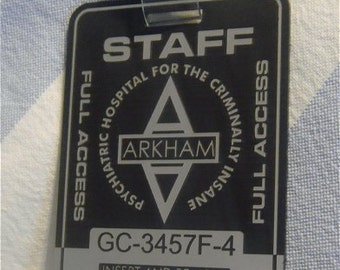 Custom ARKHAM ASYLUM Full Access Badge Card Prop BATMAN Dark Knight