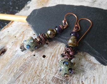 """Earrings ethnic earrings, unique, """"tribal"""" jewelry, lampwork headpins, green, purple, handmade."""