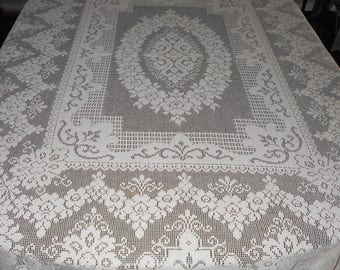 Vintage Lace Tablecloth - Quaker Tablecloth - Tablecloth