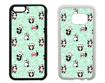 Cute Panda phone case iPhone 6 6S 7 8 Plus X SE 5S 5C 5 4S, Samsung Galaxy S8 Plus S7 S6 Edge, S5 S4, Note 5, rubber phone cover. R396