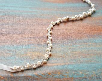 Pearl Bridal Belt, Crystal Wedding Dress Belt, Skinny Bridal Dress Sash, Thin Wedding Belt, Bridal Sash Belt, Bridesmaid Belt, for Wedding