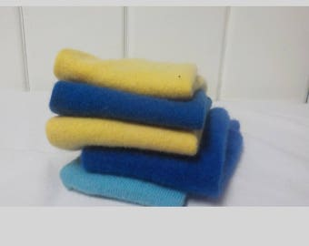 Upcycled Felted Cashmere Sweater Pieces - Blues and Yellow