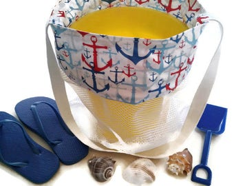 Sand Toy Bag, Beach or Pool Mesh Tote, Kids Anchor Bag, Anchor Theme Birthday, Beach or Pool Party, Toy Gift Bag, Gift For Boys And Girls