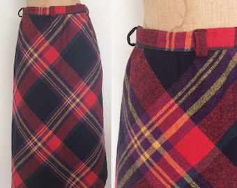 1970's Red Plaid Aline Skirt Vintage Wool Skirt Size Small by Maeberry Vintage