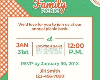 Family picnic 5x5 invitation/announcement
