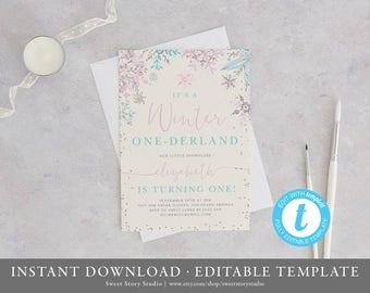Winter Onederland Birthday Invitation Card| Editable, Printable | Snowflake, Winter Onderland, First Birthday DC001