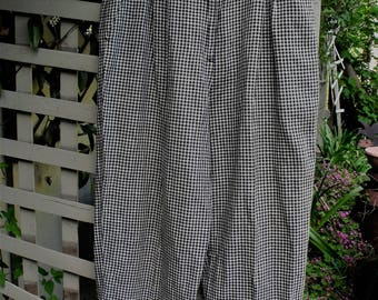 Susan Bristol Black Check Linen-Cotton Casual Pants/ Size 10 Susan Bristol Casuals/ Hi-Rise Thrifted Couture Trousers/ Shabbyfab Funwear