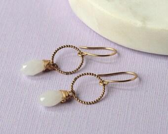 Opal Crystal Gold Drop Earrings | bridal earrings | bridal jewellery | October birthstone | mother's day  | opal earrings