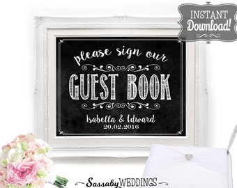 Guest Book Sign Wedding Poster - INSTANT DOWNLOAD - Chalkboard, Please Sign, Reception, Gift Table, Guests Editable Printable Signs Set
