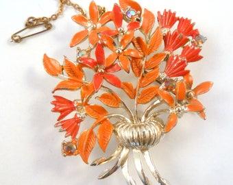 Vintage Flower Brooch,  Enamel  Brooch, Orange Flower Brooch, Flower And Urn Brooch