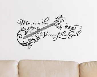 Music is the voice of the soul vinyl wall decal sticker design